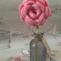Handmade Crochet Rose In Vase Home Decoration