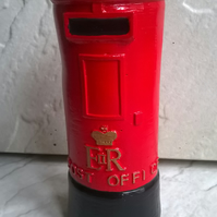 NEW British Style Post Box Garden Ornament Statue Hand Painted. Gift, Hand Made