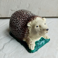Hand Cast Hedgehog Hand Painted Stone Concrete Ornament Garden Gift.