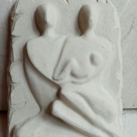 Family Garden Home Plaque in Natural Stone Cast by Hand Gift