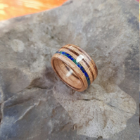 Zebrano bentwood ring with Malachite and Lapis Lazuli