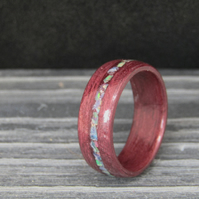 Purpleheart and opal bentwood ring