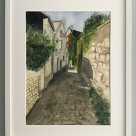 Cobbled Street in Chinon - Original Watercolour Painting