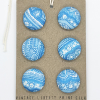 Vintage LIBERTY print silk handmade covered buttons, 19mm set of 6