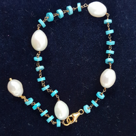 Turquoise & Pearls rosary link bracelet in Gold Plated 925 Sterling Silver