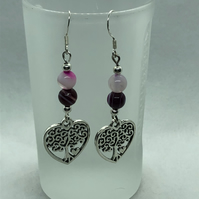 Tree of life earrings, gemstone tree of life