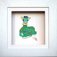 Giraffe Sitting Papier Mache Animal in White Wooden 3D Frame with glass