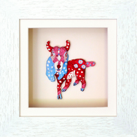 Goat Papier mache Animal in White Wooden 3D Frame with glass