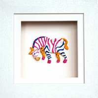 Zebra Papier mache Animal in White Wooden 3D Frame with glass