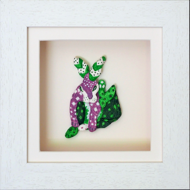 Hare Papier Mache Animal in White Wooden 3D Frame with glass