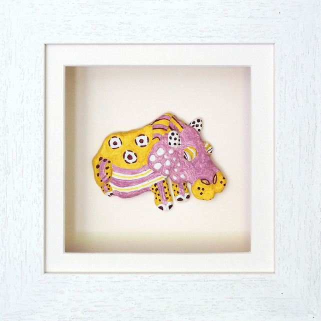 Hippo Papier Mache Animal in White Wooden 3D Frame with glass