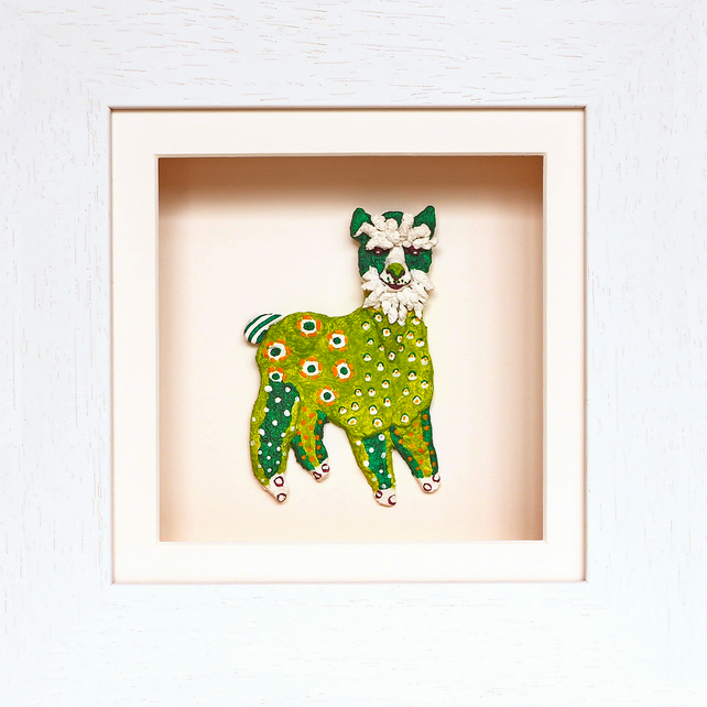 Alpaca Papier Mache Animal in White Wooden 3D Frame with glass