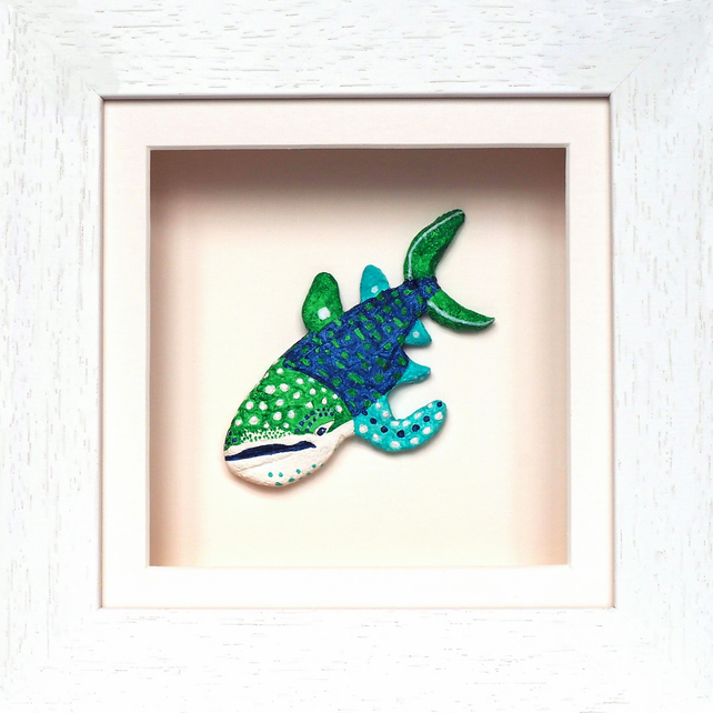 Whale Shark Papier Mache Animal in White Wooden 3D Frame with glass