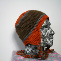 Mens Winter Trapper Hat in Copper, Brown and Grey