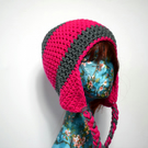 Pink and Grey Colour Block Earflap Hat