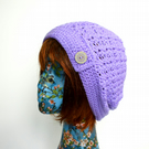 Lilac Crochet Slouch Hat