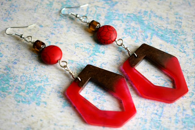 Red and Brown Retro Style Earrings