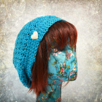 Turquoise Hat with Heart Button