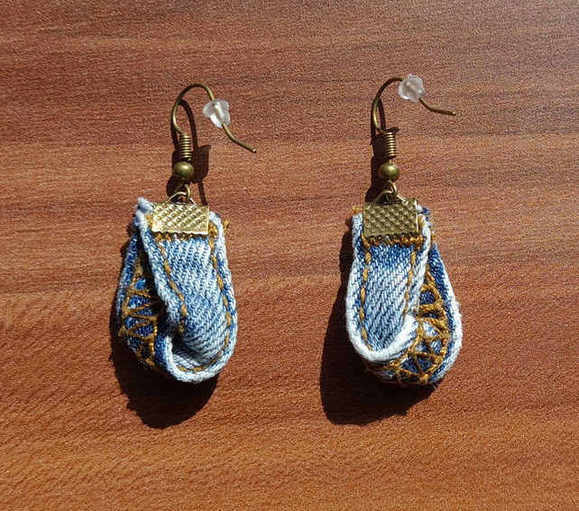Upcycled Denim Twisted Loop Earrings