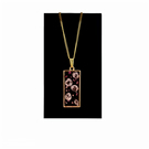 Gold pendant resin necklace with pink flower petals