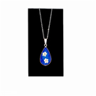 Silver blue pendant resin necklace with white flowers