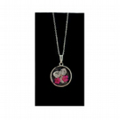 Silver pendant resin necklace with pink flowers