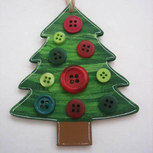 Hand Painted Wooden Christmas Tree Decoration