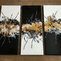 Original acrylic painting, black, white, gold. Resin finish. Triptych
