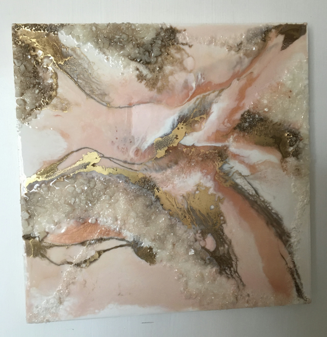 unique resin art painting, soft peachy pink, white, gold, crystals