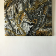 Original ,fluid art painting in gold, black, white, grey