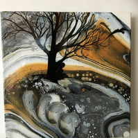 SALE. 'Never alone' An acrylic pour painting, embellished, Resin finished
