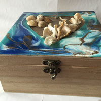 Jewellery, trinket, memory box, resin art, ocean inspired