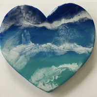 "Playful waves. Sea  inspired, heart shaped, wall hanging, 8"",  resin art"