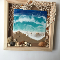 Seascape , resin art painting with shells, Amber, fishing net, framed
