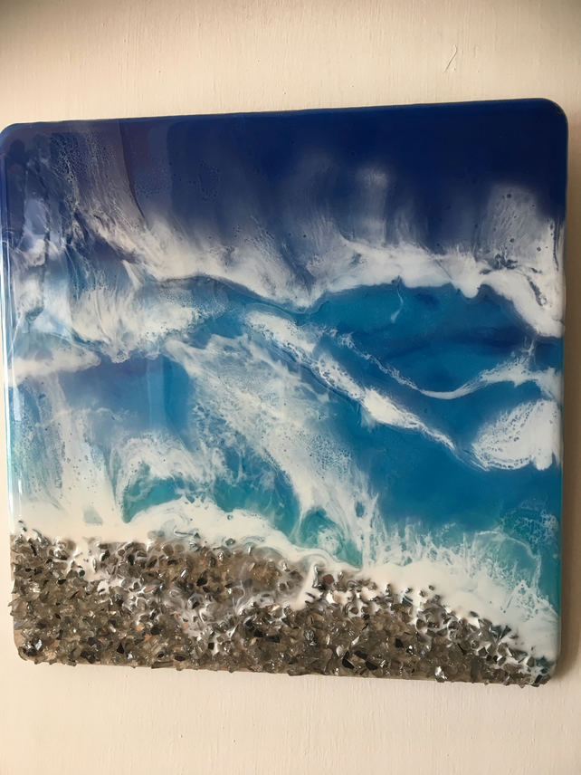 Seascape, resin art ,embellished  mirror glass chipping.