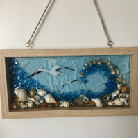 SALE. Original, resin art , Window , wall hanging, Sea wave and seagulls