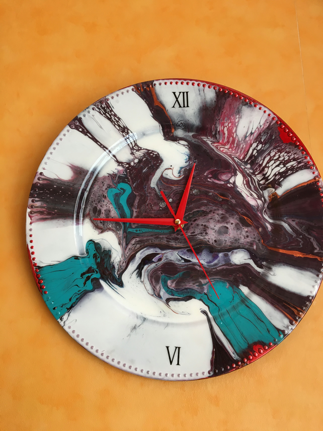 Colourful, one of a kind wall clock, abstract art, acrylic, resin