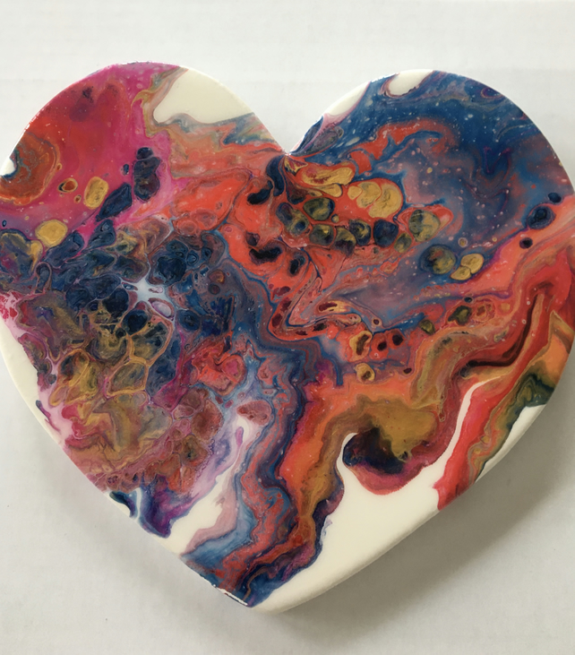 SALE. Heart shaped,  abstract , fluid art painting, Magic galaxy