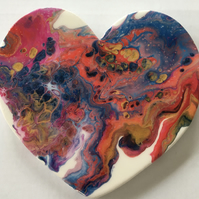 Heart shaped,  abstract , fluid art painting, Magic galaxy