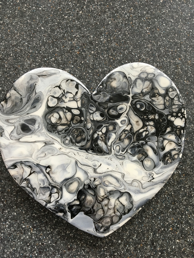 Heart shaped, abstract, fluid art painting 'Silvery grey day'