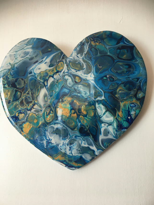 Heart shaped,  abstract , fluid art  painting , under the ocean