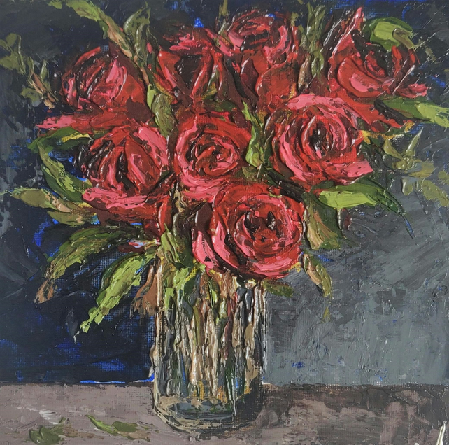 Red Rose Bouquet Still Life Painting