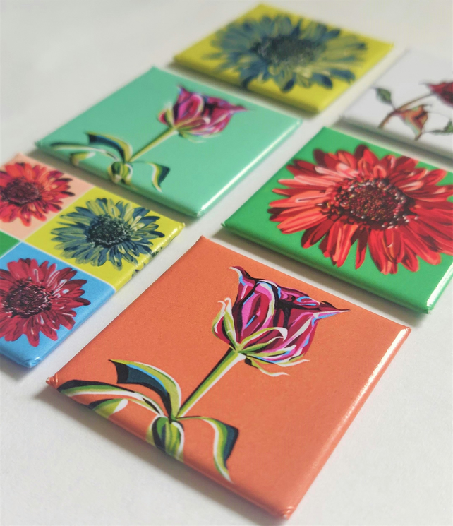 Floral Pop Art Magnet Set Of 6