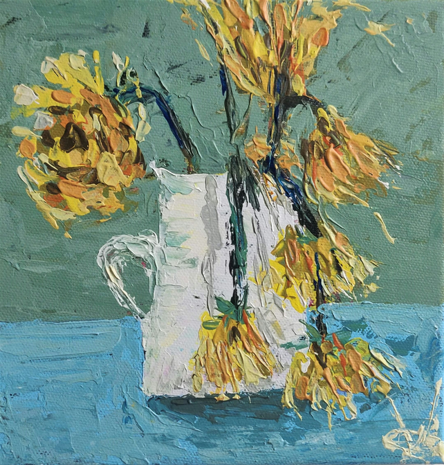 Wilting Sunflowers Small Impasto Painting
