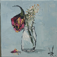 Decaying Rose In Jar Small Impasto Painting