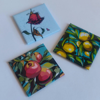 Fruit Trees & Rose Magnet Set Of 3