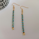 Beaded Bar Earrings - Turquoise & Gold