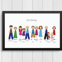 Personalised Family Cartoon Print -Mum Dad Brothers Sisters LGBTQ  Gay Lesbian