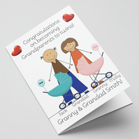 Personalised Congratulations on becoming grandparents to twins card