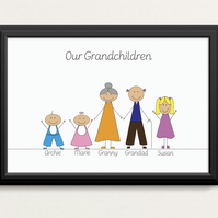 Personalised 'Grandchildren' Cartoon Print